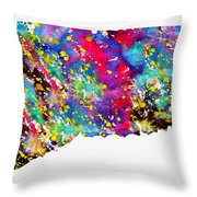 Map Of Connecticut-colorful Throw Pillow