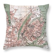 Map Of Copenhagen 1888 Throw Pillow