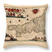 Map Of Cornwall 1646 Throw Pillow