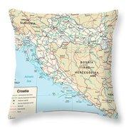 Map Of Croatia Throw Pillow
