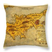 Map Of Cyprus 1562 Throw Pillow