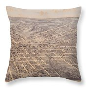 Map Of Dallas 1872 Throw Pillow