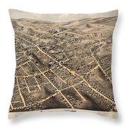 Map Of Danbury 1875 Throw Pillow