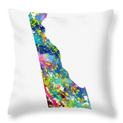 Map Of Delaware-colorful Throw Pillow