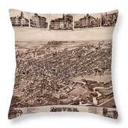 Map Of Dover 1885 Throw Pillow