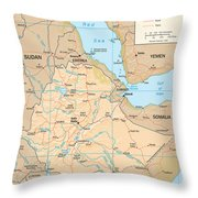 Map Of Ethiopia Throw Pillow