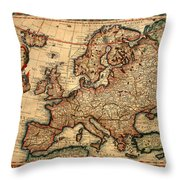 Map Of Europe 1700 Throw Pillow