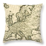 Map Of Europe Throw Pillow by Guillaume Raynal