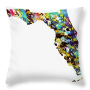 Map Of  Florida-colorful Throw Pillow