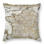 Map Of France, 1627 Throw Pillow