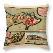 Map Of Gibraltar 1706 Throw Pillow