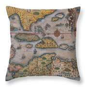 Map Of Gulf Of Mexico And C Throw Pillow