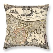 Map Of Holland 1630 Throw Pillow