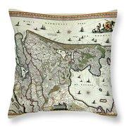 Map Of Holland 1682 Throw Pillow