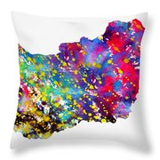 Map Of Hungary-colorful Throw Pillow