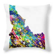 Map Of Idaho-colorful Throw Pillow