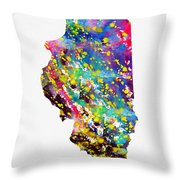Map Of Illinois-colorful Throw Pillow