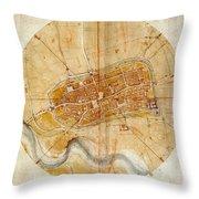 Map Of Imola 1502 Throw Pillow