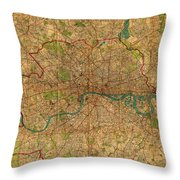 Map Of London England United Kingdom Vintage Street Map Schematic Circa 1899 On Old Worn Parchment  Throw Pillow