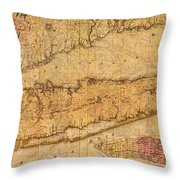 Map Of Long Island New York State In 1842 On Worn Distressed Canvas  Throw Pillow
