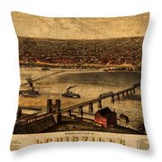 Map Of Louisville Kentucky Vintage Birds Eye View Aerial Schematic On Old Distressed Canvas Throw Pillow