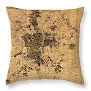 Map Of Madrid Spain Vintage Street Map Schematic Circa 1943 On Old Worn Parchment  Throw Pillow