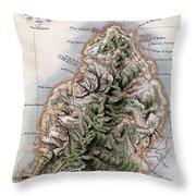 Map Of Mauritius Throw Pillow