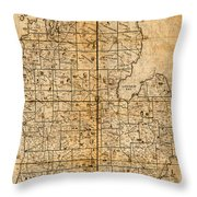Map Of Michigan Vintage Railroad Train Routes Hand Drawn On Worn Distressed Old Canvas Throw Pillow