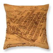 Map Of Minneapolis Minnesota Vintage Birds Eye View Aerial Schematic On Old Distressed Canvas Throw Pillow
