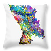 Map Of Moldova-colorful Throw Pillow
