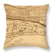 Map Of Montreal 1758 Throw Pillow