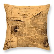 Map Of Nashville 1860 Throw Pillow