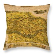 Map Of Nebraska 1954 Omaha Cornhusker State Aerial View Illustration Cartography On Worn Canvas Throw Pillow