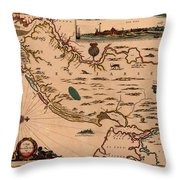 Map Of New Jersey 1672 Throw Pillow