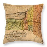 Map Of New York State Showing Original Indian Tribe Iroquois Landmarks And Territories Circa 1720 Throw Pillow