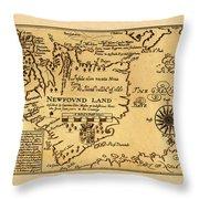 Map Of Newfoundland 1625 Throw Pillow