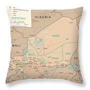 Map Of Niger Throw Pillow