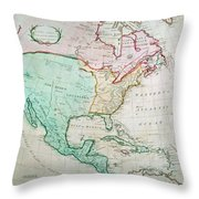 Map Of North America Throw Pillow by English School