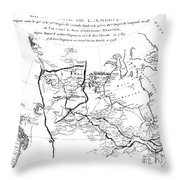 Map Of North America, Plotting The Expeditions Of Sir Alexander Mackenzie In 1789 And 1798 To The Ar Throw Pillow