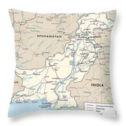 Map Of Pakistan Throw Pillow