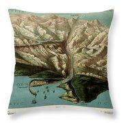 Map Of Panama Canal 1881 Throw Pillow