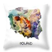 Map Of Poland Original Art Throw Pillow