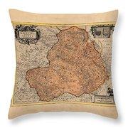 Map Of Rheims 1636 Throw Pillow
