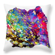 Map Of Romania-colorful Throw Pillow