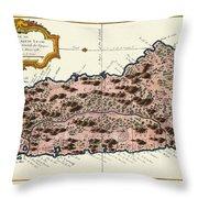 Map Of Saint Lucia 1758 Throw Pillow