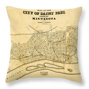Map Of Saint Paul 1852 Throw Pillow