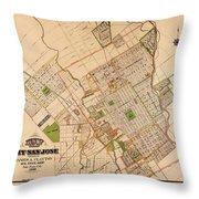 Map Of San Jose 1886 Throw Pillow