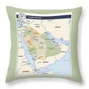 Map Of Saudi Arabia Throw Pillow