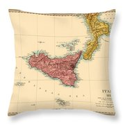 Map Of Sicily 1875 Throw Pillow