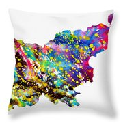 Map Of Slovenia-colorful Throw Pillow